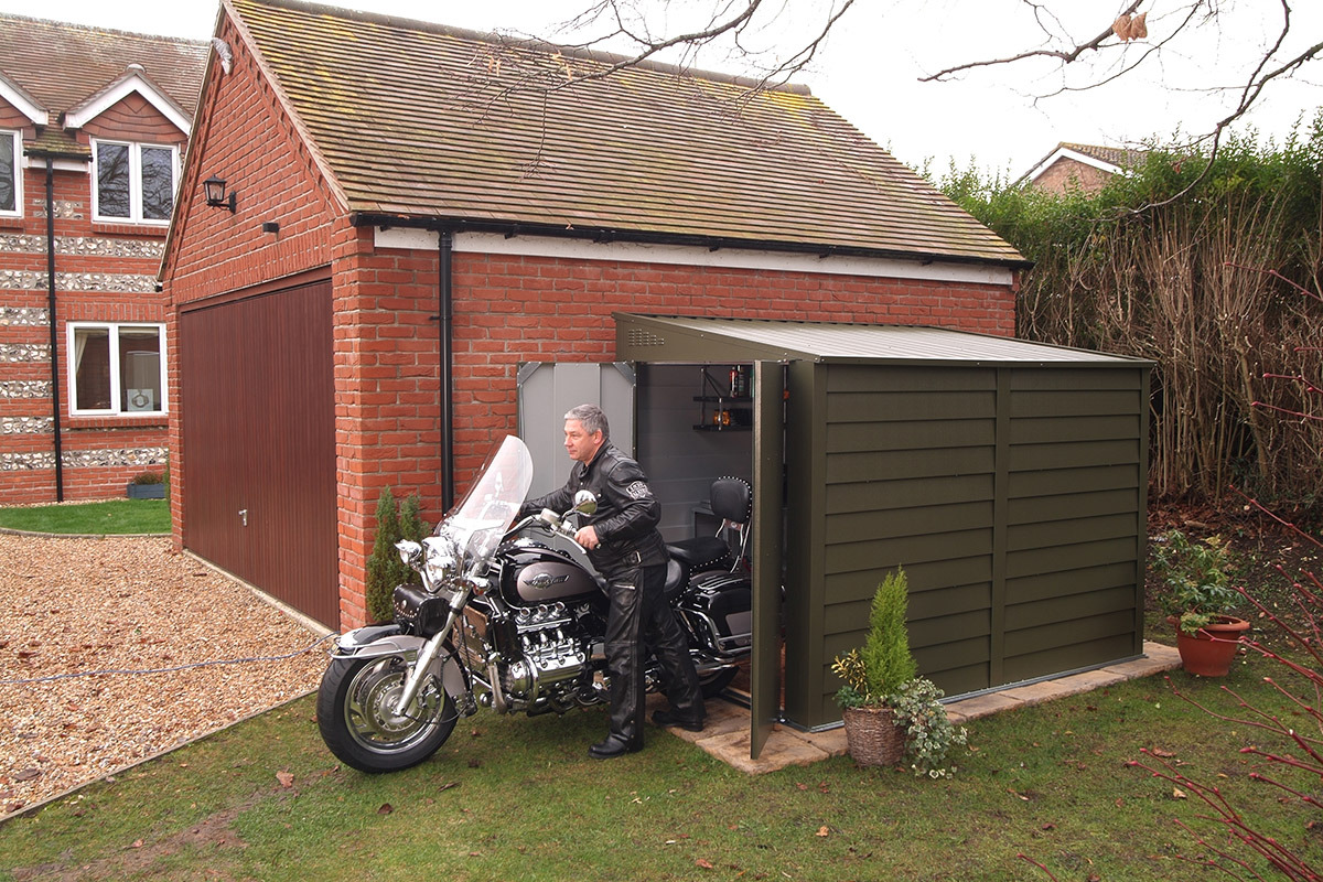 Motorbike sheds and secure motorcycle garages for home storage for Motorcycle shed