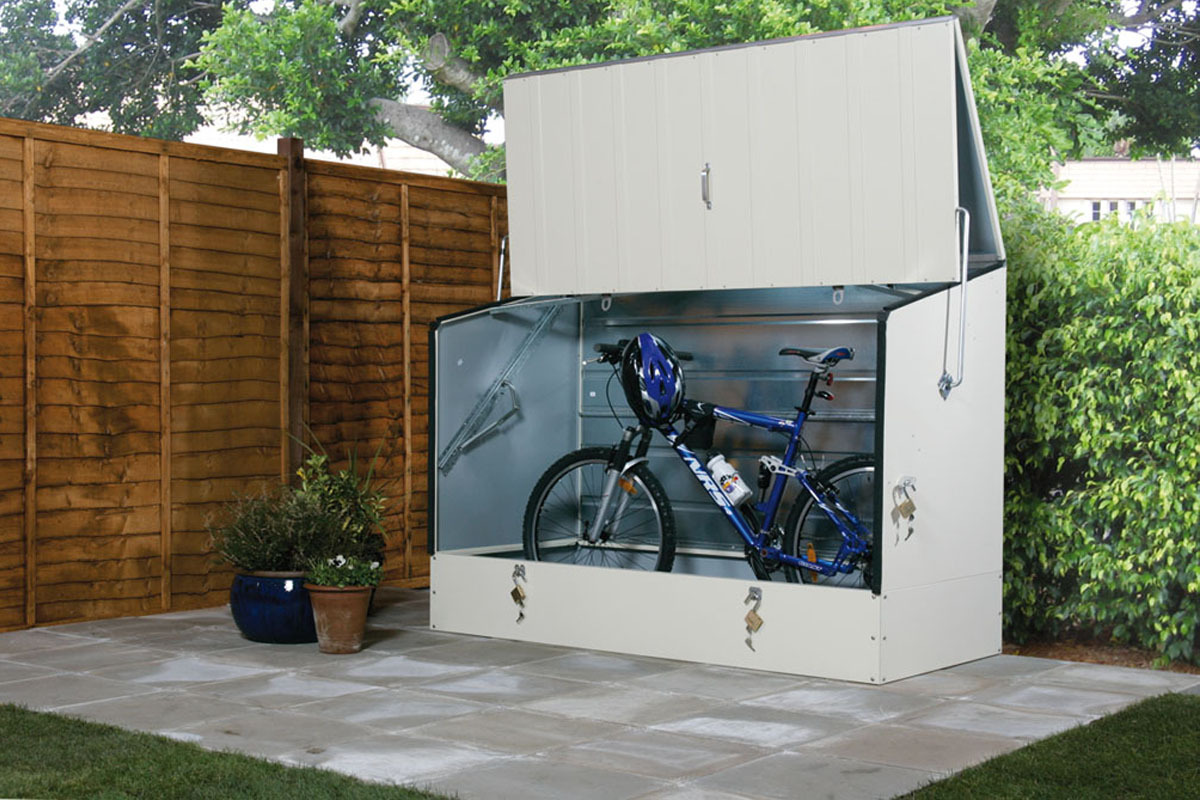 Secure bike storage sheds trimetals uk for Motorcycle storage shed