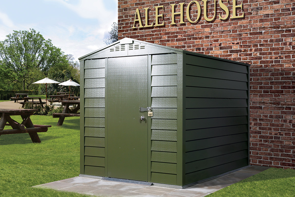 Apex Metal Shed by Trimetals in a pub garden