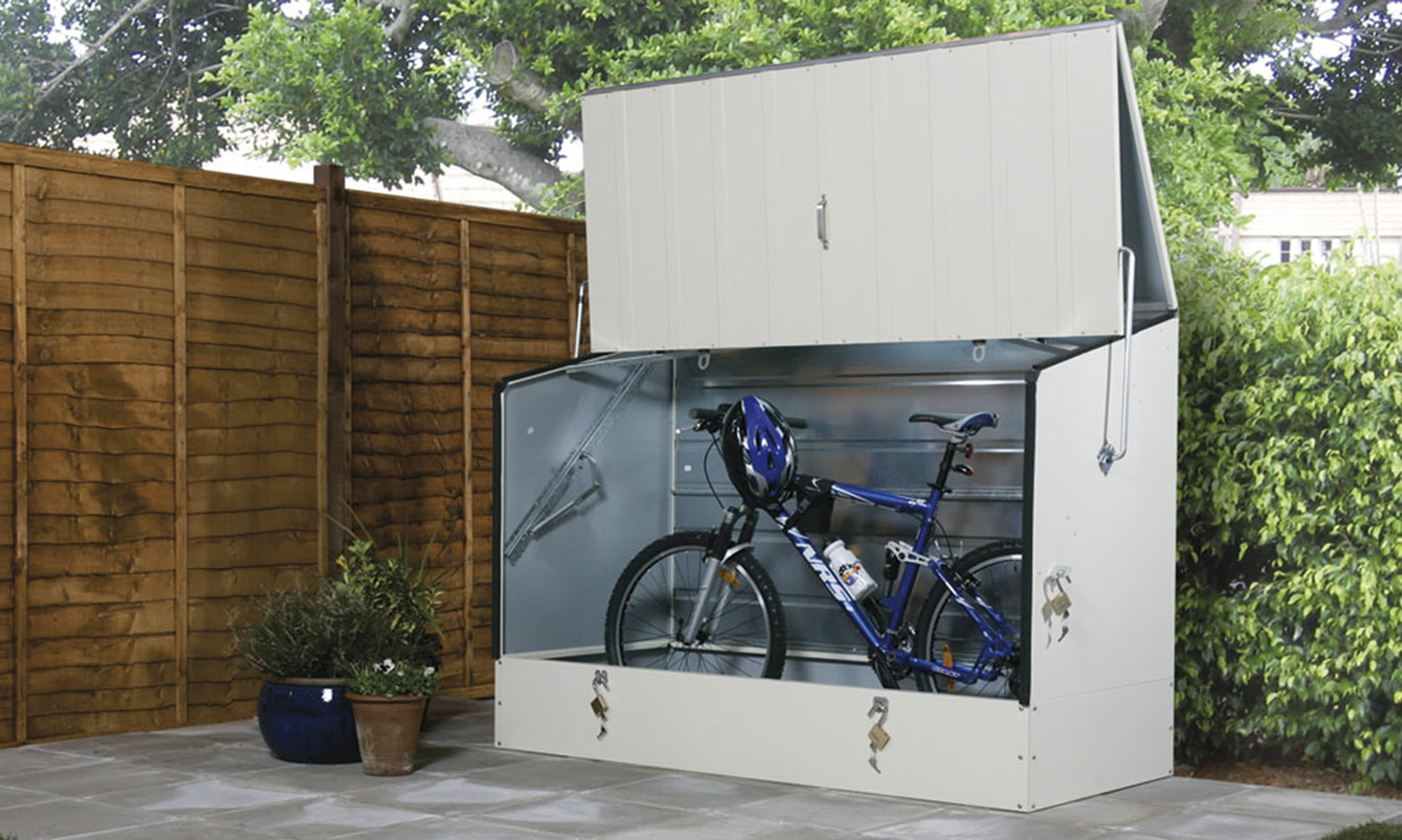 bike sheds and metal garden storage units from trimetals uk. Black Bedroom Furniture Sets. Home Design Ideas