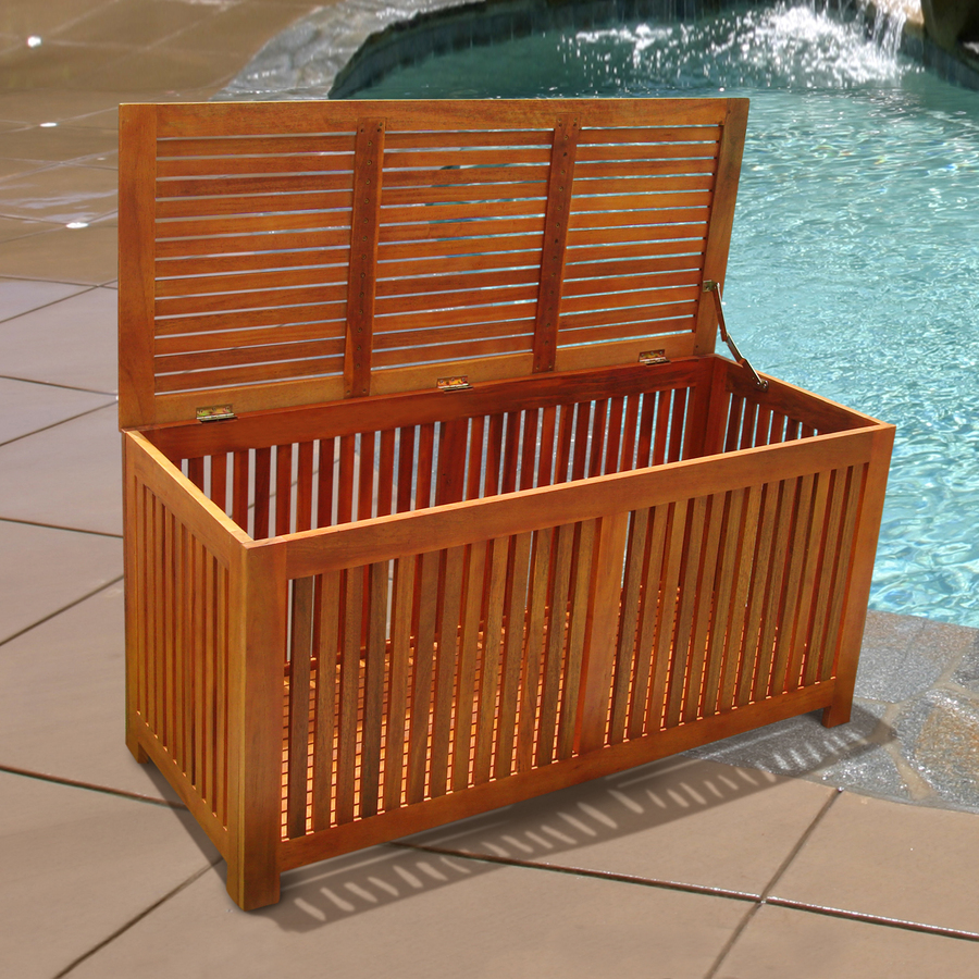 Wooden swimming pool equipment storage